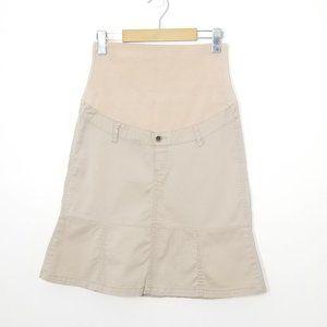 Thyme | Maternity Khaki A-Line Skirt Full Panel XS